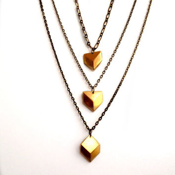 Boho Chic, Chevron, Geometric, Diamond Shaped, Gold Brass, Multi chains, Layered chains, Elegant, Trendy, Modern, Contemporary necklace