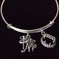 Bite Me Charm with Vampire Teeth on a Silver Expandable Bangle Bracelet Halloween Costume Hostess Gift Adjustable Wire Trendy Stackable