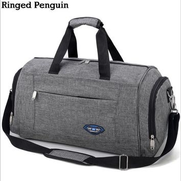 Ringed Penguin Men's Travel Bag Weekend Carrying Luggage Bag Men's Luggage Baggage Bag Overnight Waterproof Gray