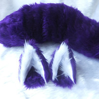 Wired or Unwired Purple Cosplay Wolf Set Ears on Hair Clips Wire Tail Fox Kitsune Anime Halloween Festival Costume