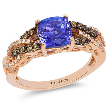 Le Vian® 1.40 Carat Cushion Cut Blueberry Tanzanite Chocolate & Vanilla Diamond® Ring in 14K Strawberry Gold®