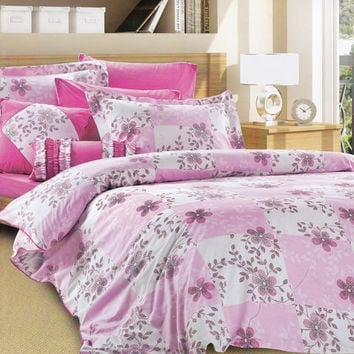 Floral Duvet Cover in Pink and White with two Pillowcases - 3-Piece Bedding Set in Queen or Full - Custom Size