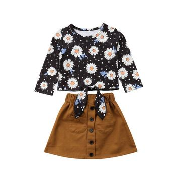 New Toddler Girl Clothes Autumn Long Sleeve Tie Front Daisy Shirt Tops Button Skirt Outfit Vetement Enfant Fille 1-6Years