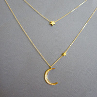Star and Crescent Moon Necklace, Layered Necklace, Gold Moon star necklace, Moon necklace, Star necklace, layer necklace dainty