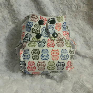 Owl Print All In One (AIO) Cloth Diaper - One-Size or Newborn, S, M, L