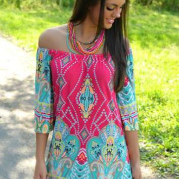 Women's Summer Off Shoulder Colorful Print Pink and Mint Tribal Bell Sleeve Tunic Dress