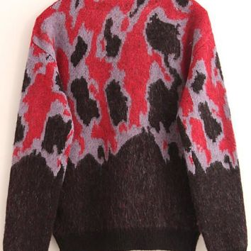 New Women Red Black Leopard Print Pull Yarn Pullover Sweater
