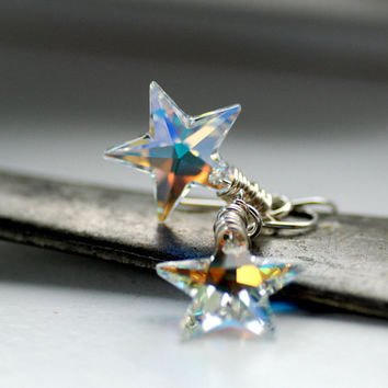 Crystal Star Earrings, Swarovski Crystal Stars Northern Lights and Sterling Silver - Make a Wish