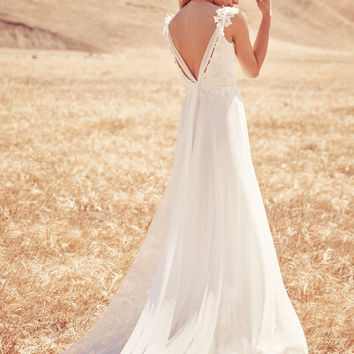Open Back Chiffon and Lace Boho Wedding Dress Beach Gown Custom Size 6 8 10 12