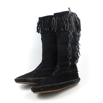 Tall Suede Boots Vintage Black Leather Fringe Moccasin Booties