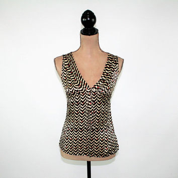 Silk Blouse Sleeveless Top Empire Waist Sexy V Neck Brown Chevron Print Summer Tops for Women XS Small Womens Clothing