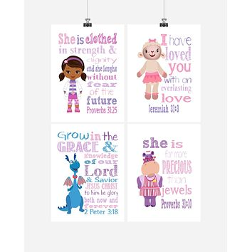 Doc McStuffins Christian Nursery Decor Set of 4 Prints - Dr. McStuffins, Hallie, Lambie and Stuffy with Bible Verses