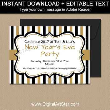 New Years Invitation Template, EDITABLE New Years Party Invites, 50th Birthday Invitation Printable, 50th Wedding Anniversary Invitation N1
