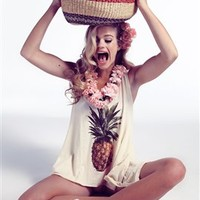 Wildfox Pineapple Dreamer Tank in Banana Split