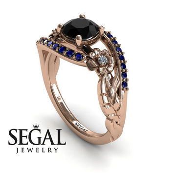 Unique Engagement Ring Diamond ring 14K Red Gold Flowers And Leafs Black Diamond With White diamond And Sapphire - Alyssa