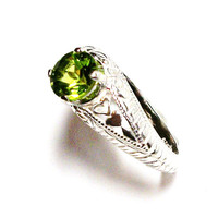 """Peridot, peridot ring, sweetheart ring, birthstone ring, solitaire ring, green, s 6 3/4  """"Opposite's Attract"""""""