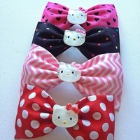 Pick ONE- Hello Kitty handmade fabric hair bow from Bowlicious Divas Bowtique