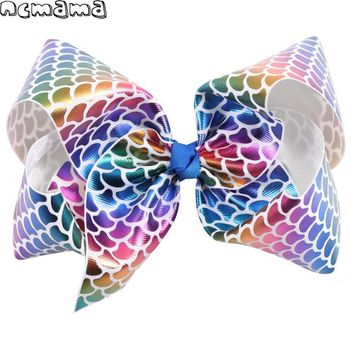 2Pcs/Set 8'' Girls Mermaid Hairclips Leather Scales Hairbows Boutique Hairpin Handmade Kids' Ribbon Hairgrips Hair Accessories