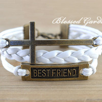 Cross bracelet, love bracelet ,bestfriend bracelet,infinity friendship,blessed gift,friendship bracelet, blessed garden