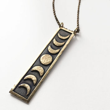 Brass Moon Phase Pendant. Moon Phase Jewelry. Lunar Inspired Necklace. Moon Phase Necklace. Occult Jewelry. Celestial. Nature.