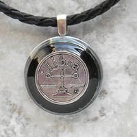 libra necklace: black - mens necklace - man jewelry - astrology - boyfriend gift - zodiac - birthday gift - leather cord - unique gift