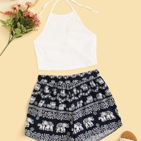 Rib-knit Halterneck Top & Tribal Print Shorts Set