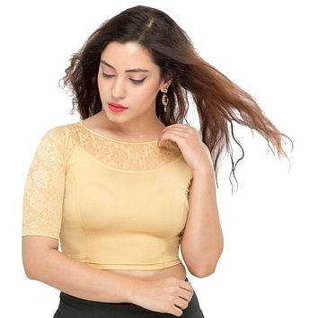 Designer Indian Light-Gold Shimmer Non-Padded Stretchable Elbow Length Sleeves Saree Blouse Crop Top (A-31)