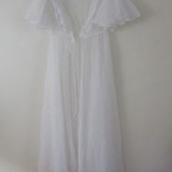 M Val Mode Vintage Sheer Robe long lace white open front maxi Vtg