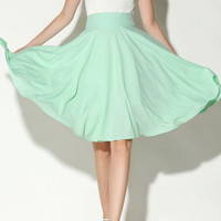 Light Green High Waist Midi Skater Skirt