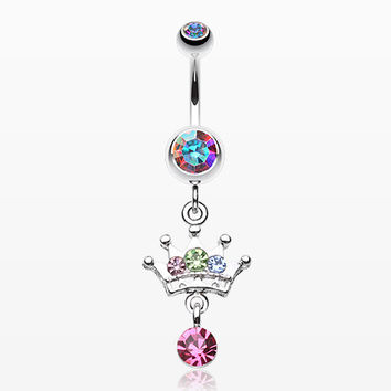 Crown Sparkle Belly Button Ring