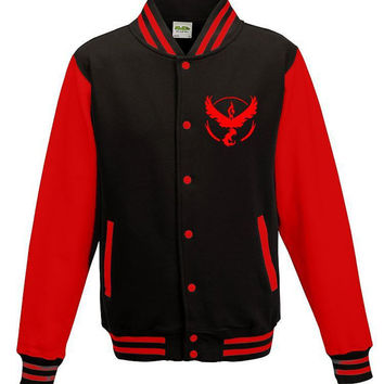 Mens Red & Black Pokemon jacket -Team Valor Badge Fan Art