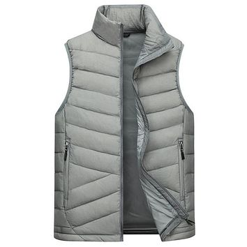 Down Vest Men Winter 2017 New 90% White Duck Down Fashion Style Very Thick Waistcoat Plus Size 2XL