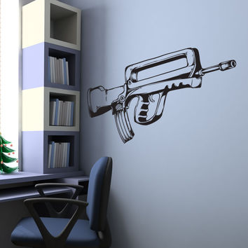 Vinyl Wall Decal Sticker Assault Gun #1334