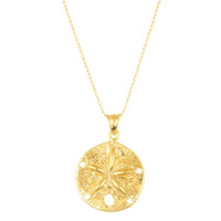 Sterling Silver Gold Textured Sand Dollar Bead Necklace