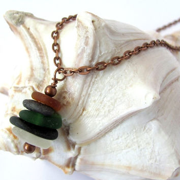 Cairn Stack  Necklace River Rocks  Beach Stones Sea Glass Seaglass Beads Copper Eco Friendly Jewelry by Hendywood