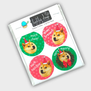 Funny Christmas Tags - Christmas Doge - Doge Stickers - Doge Sticker - Meme Stickers - Gift Stickers - Christmas Packaging Stickers