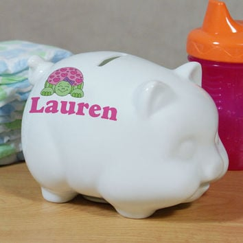 Personalized Ceramic Turtle Piggy Bank