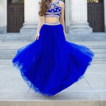 Royal Blue Two Piece Prom Dress