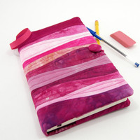 Pink Journal Cover, Quilted Moleskine Cover, Fabric Diary - Hand Dyed Cotton in Pinks