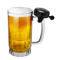 Glass Beer Mug with Bell 18OZ