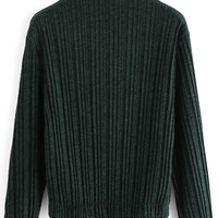 Green Ruffle Collar Ribbed Blouse