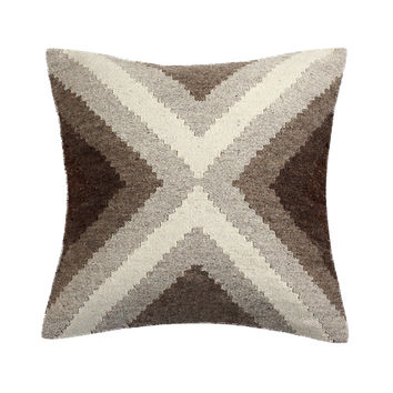 Hand Loomed Wool Modern Beige Brown Decorative Pillow Cover