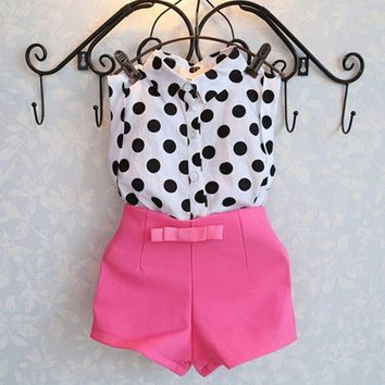 Baby Girl  Polka Dot Top + Pink shorts Set