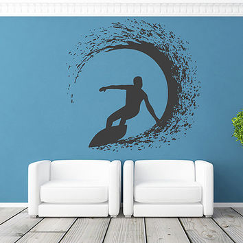 kik1116 Wall Decal Sticker Sea surf surfer wave hawaii living room bedroom