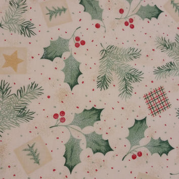 HOLLY BERRIES and PINE trees stars Green Red Cream Cotton Fabric Christmas Color Fun Fabrics for Creative Genius Projects