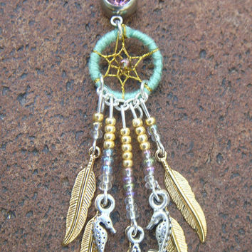 Green and purple mermaid dreamcatcher belly button ring gold and silver