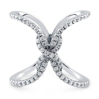 "Sterling Silver Cubic Zirconia CZ Criss Cross ""X"" Ring 0.87 ct.twBe the first to write a reviewSKU# R949-01"