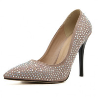 Fashion Pointed Closed Toe Rhinestones Embellished Stiletto Super High Heels Apricot PU Basic Pumps