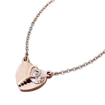 HAWSON Heart and Key Necklace for Women Rose Gold Embossing Love Lock Chain Necklaces for Couple Girlfriend