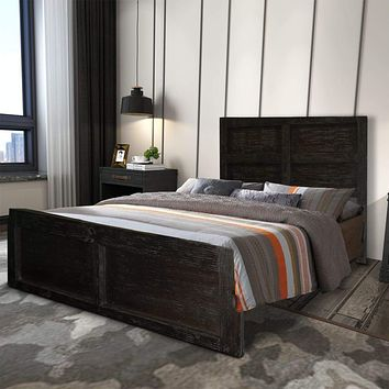 Wooden Queen Bed with Panel Headboard and Grain Details, Rustic Brown By The Urban Port